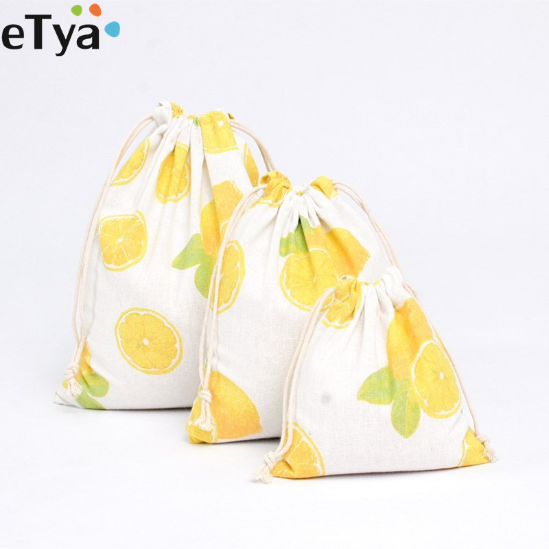 1PCS Fruit Cotton Drawstring Bag Women Travel Makeup Cosmetics Shoes Cloth Storage Organizer Bags Small Coin Purse Pouch Pocket