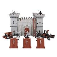 19pcs/set Medieval Knights Catapult Castle Soldiers Infantry Action Figures Castle Soldiers Model Assembled Building Military