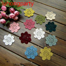 Free shipping Handmade Crochet Coaster 7cm Round flower Lace Doilies Table Place mats cup mat 20pcs/Lot