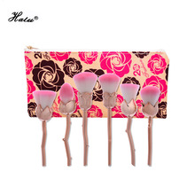 Halu New 6pcs Rose Shape Gold Unicorn Makeup Brushes Foundation Powder Make Up Brushes Set Beauty Blush Brush Pincel Maquiagem