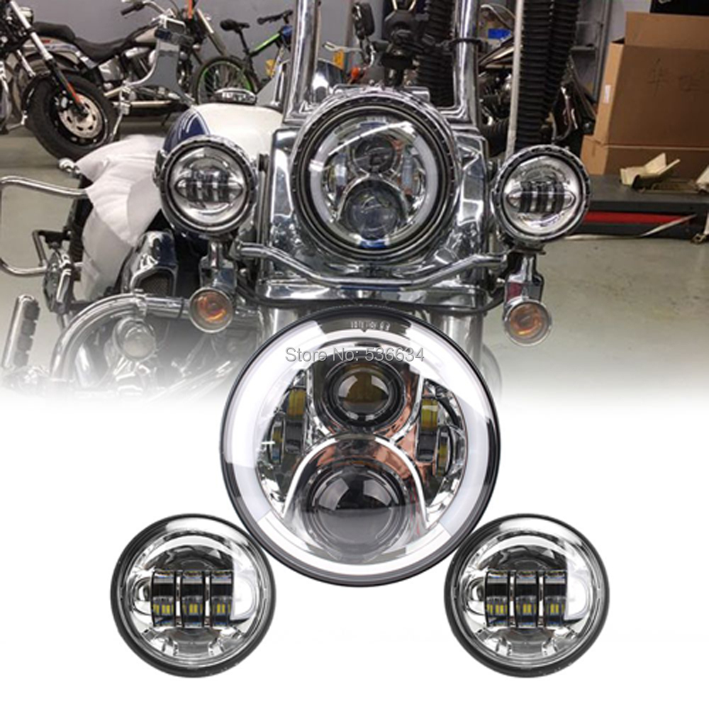 7Inch LED Round Projector Headlight Hi/Low Beam with Halo H4 Matching 4.5Inch LED Passing Lamps For Harley Davidson Softail Slim