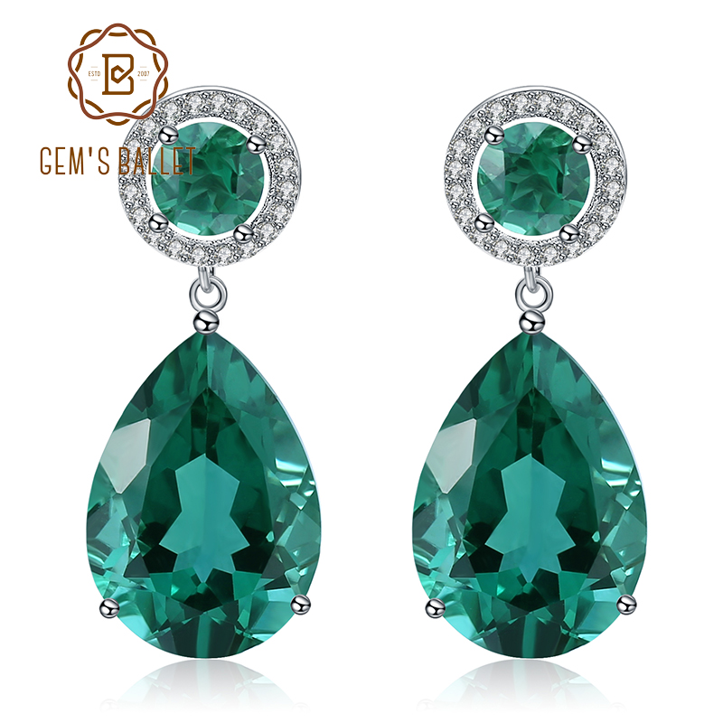 GEM S BALLET Classic 22 98Ct Green Nano Emerald Drop Earrings Solid 925 Sterling Silver Earring
