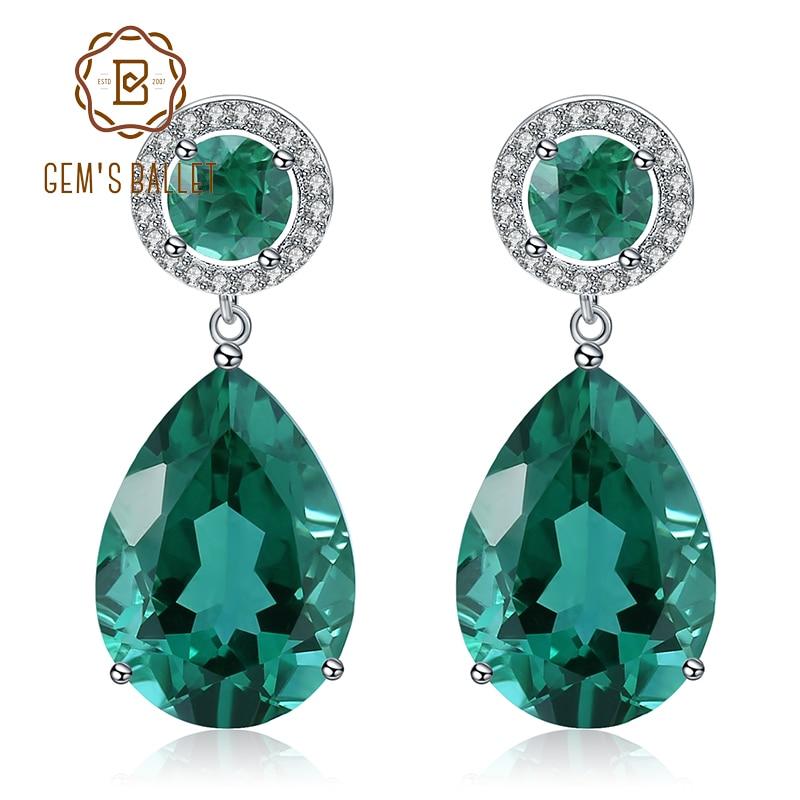 GEM'S บัลเล่ต์คลาสสิก 22.98Ct สีเขียว Nano Emerald Drop ต่างหู Solid 925 Sterling Silver ต่างหูเครื่องประดับสำหรับผู้หญิง-ใน ต่างหู จาก อัญมณีและเครื่องประดับ บน AliExpress - 11.11_สิบเอ็ด สิบเอ็ดวันคนโสด 1