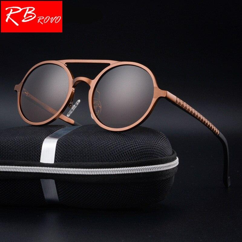 RBROVO HD 100% Polarized Aluminum Magnesium Sunglasses Men Brand Design UV400 Classic Retro Metal Sun Glasses Outdoor Glasses