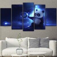 5 шт. холст картина на стену с животными картины Поп Арт Декор картины в рамках панды синие печатные рисунки на холсте картина Квадратные Укр...