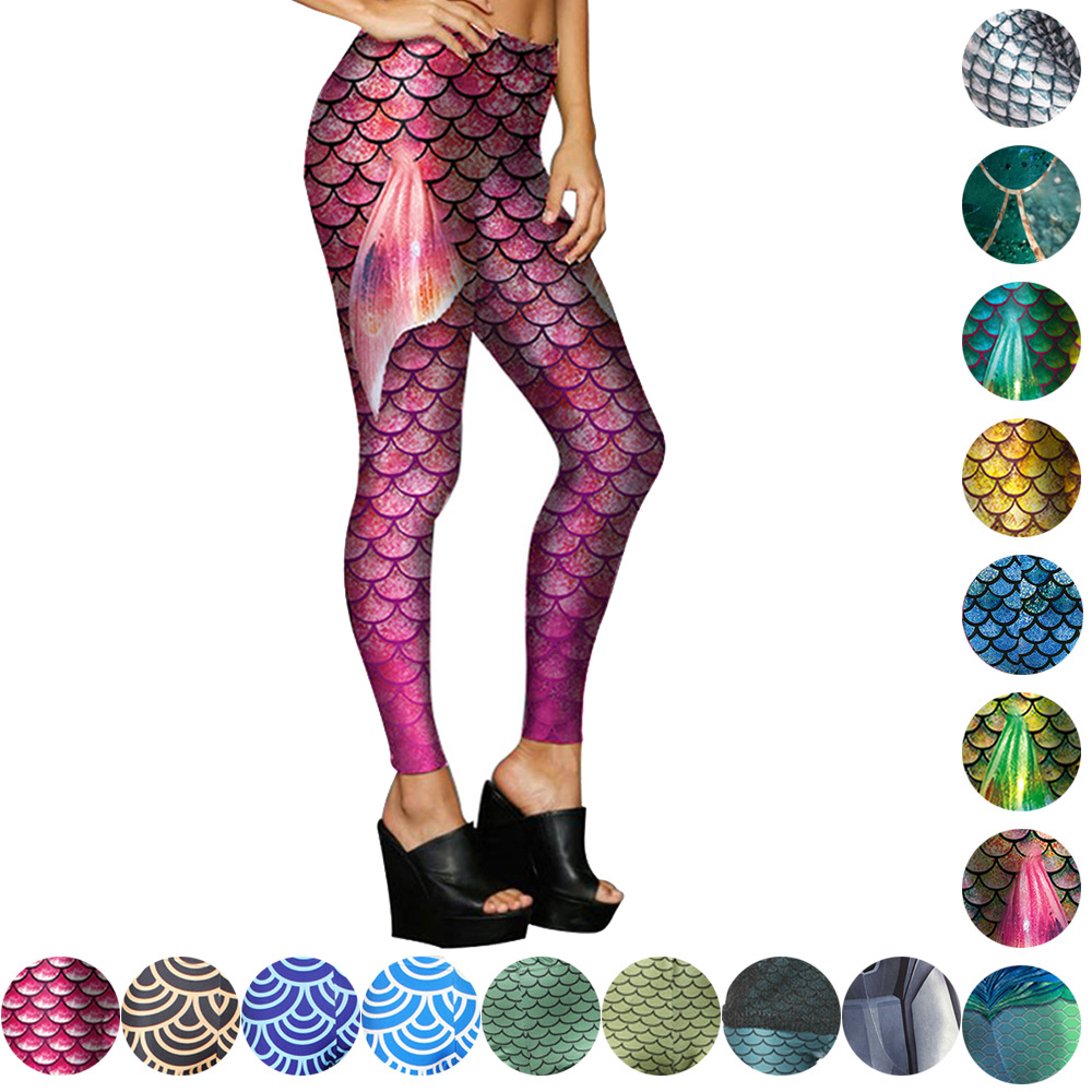 d425f078d07ad Shiny Mermaid Print Punk Female Yoga Pants Halloween Cosplay Tights Colorful  Fish Scale Skinny Trousers Fitness Women Trousers