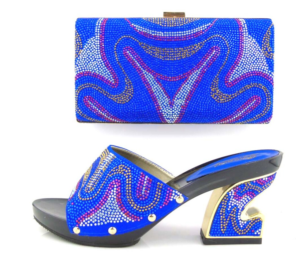 ФОТО italian shoes and bags to matching pumps shoes wedding party heels blue african women shoes and bag set with rhinestones !HUA1-4