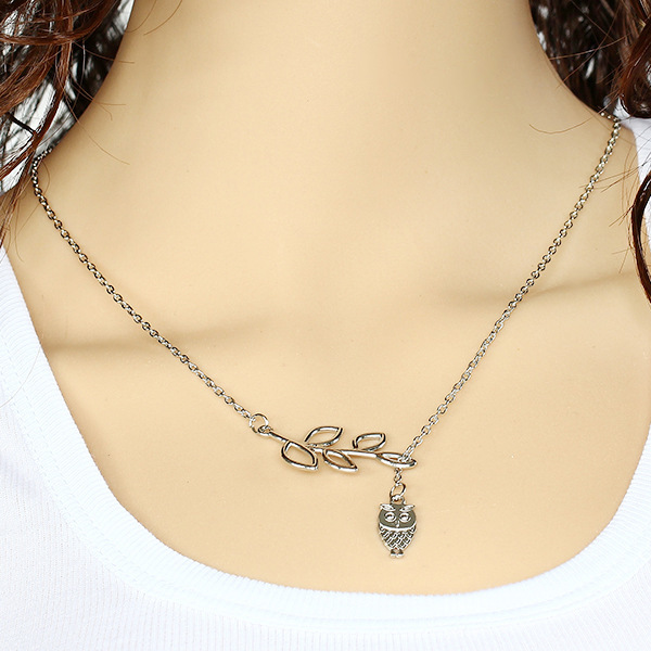 2015 Summer Hot Fashion Silver Plated Chain Bar Necklace Leaf and Long Owl Pendant Necklaces Jewelry