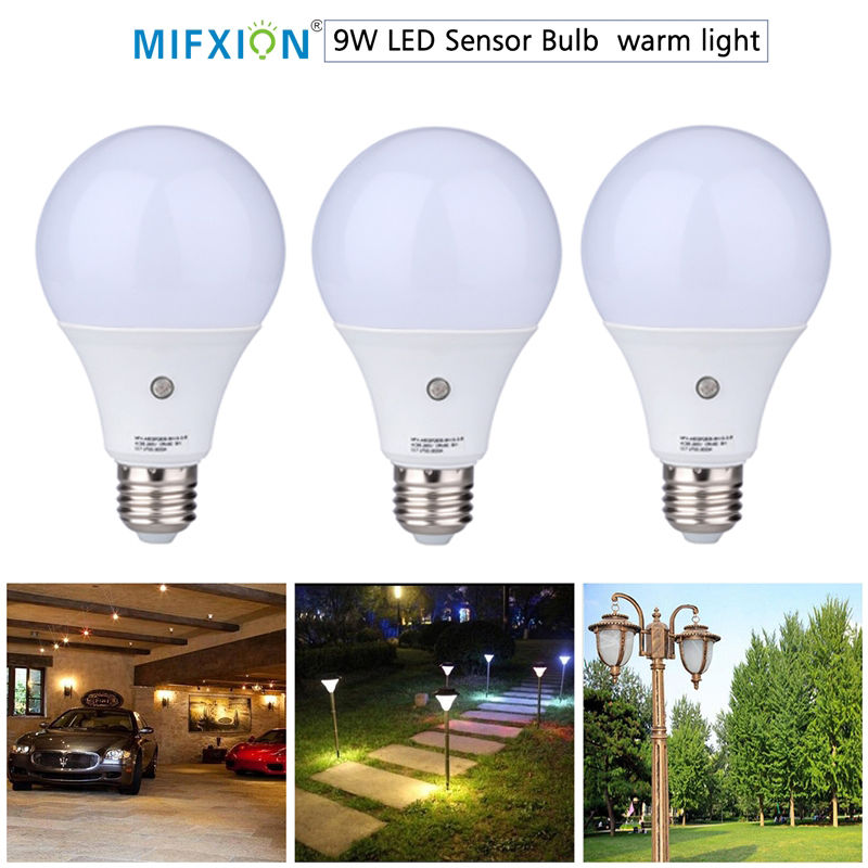 9W E27 Outdoor LED Sensor Light Bulb Auto light-control LED Lamp Bulb Automatic sensor energy-saving Led Light Bulb car auto light sensor automatic headlight sensor control for new ford focus 2012 kuga 2013 automatic turn on light