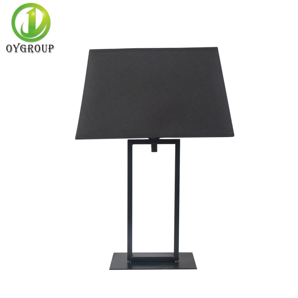 2pcs E27 Black Rectangular Table Lamp