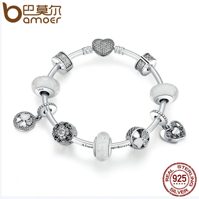 BAMOER 925 Sterling Silver Glittering Hope Petals Clover, Heart White Glass Beads Charm Bracelets Sterling Silver Jewelry PSB018
