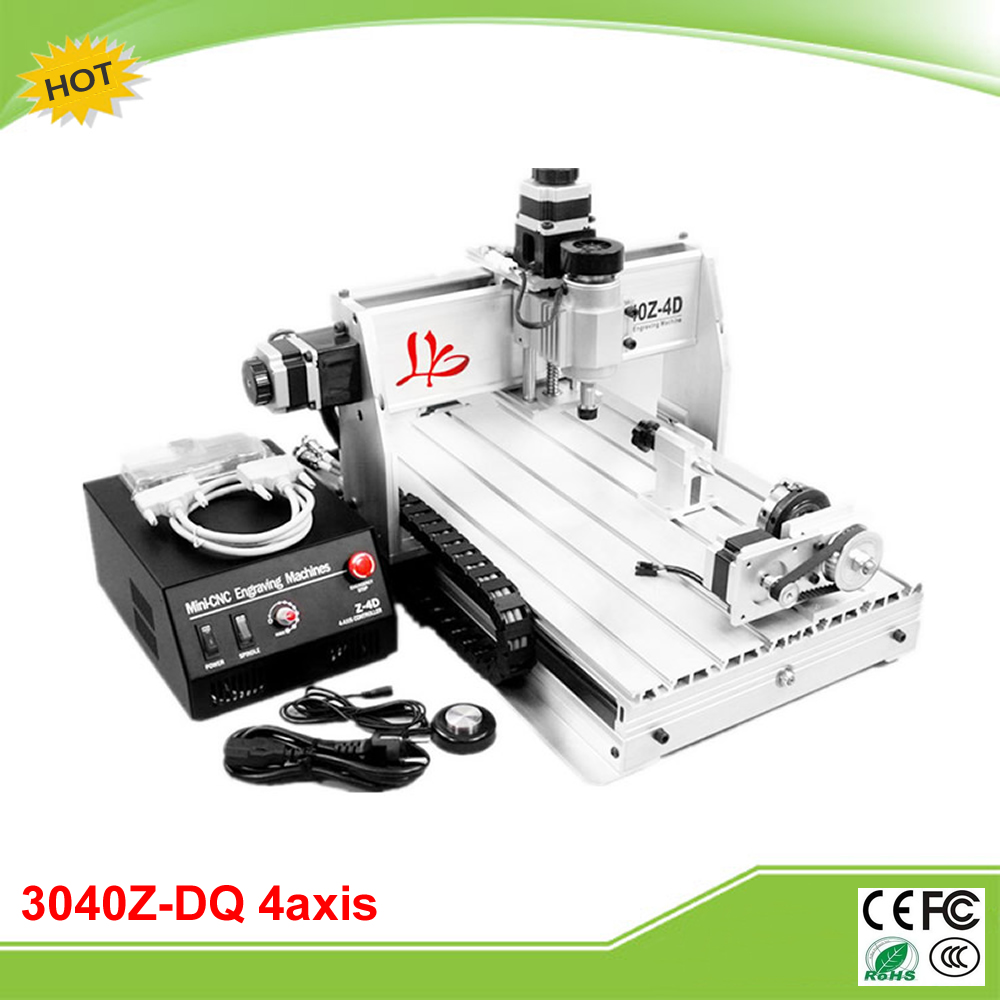 CNC 3040Z-DQ 4 axis mini CNC engraving machine with precise ball screw auto-checking tool 4th rotation axis for 3d cnc