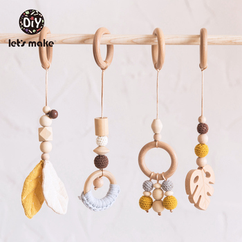 Let's Make Baby Toys 1set/4pcs Play Gym Wooden Beads Beech Leaf Pendant Teething Nursing Stroller 0-12 Months Baby Rattle Toys