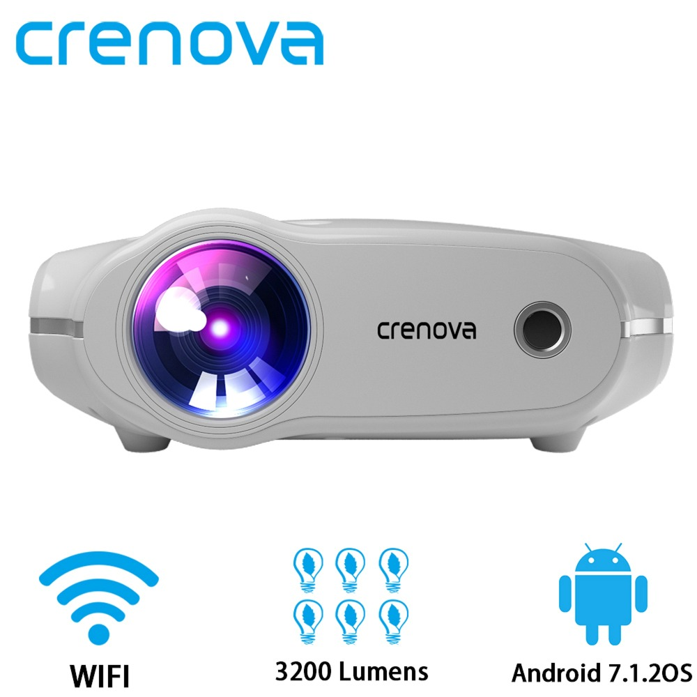 CRENOVA Android 7 1 2 OS Wifi Bluetooth Home Cinema Movie Video Projector 3200 Lumens Support