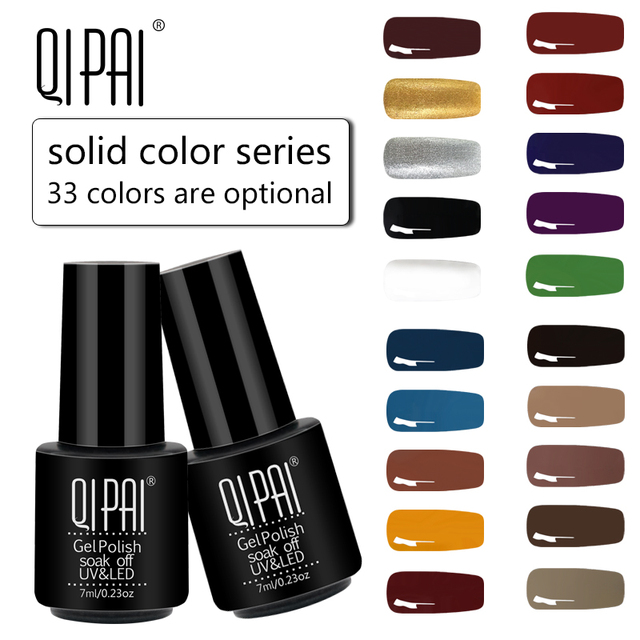 QIPAI 7ML Nail Gel Polish 33 Colors Nail Art Hybrid Varnish Soak off UV LED Semi Permanent Enamels Manicure for Nail Gelpolish