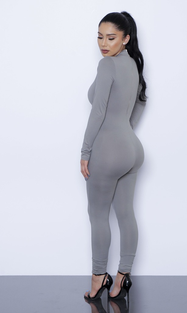 HTB1t4YsLpXXXXboXVXXq6xXFXXXa - New Hot Casual Women One Piece Jumpsuits Long Sleeve turtleneck Bodycon Back Zipper Long Pants Sexy Outfits Grey Rompers