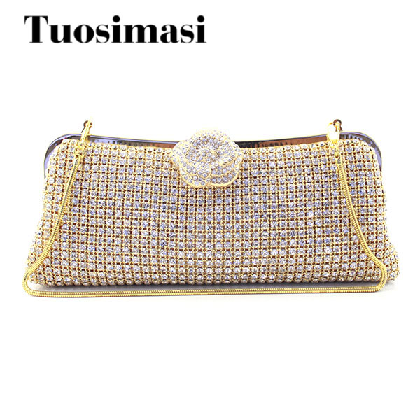 Golden rhinestone crystal diamond fashion luxury velvet women day clutch small purse bag with gold shoulder chain handbag light silicone handbag w chain red golden