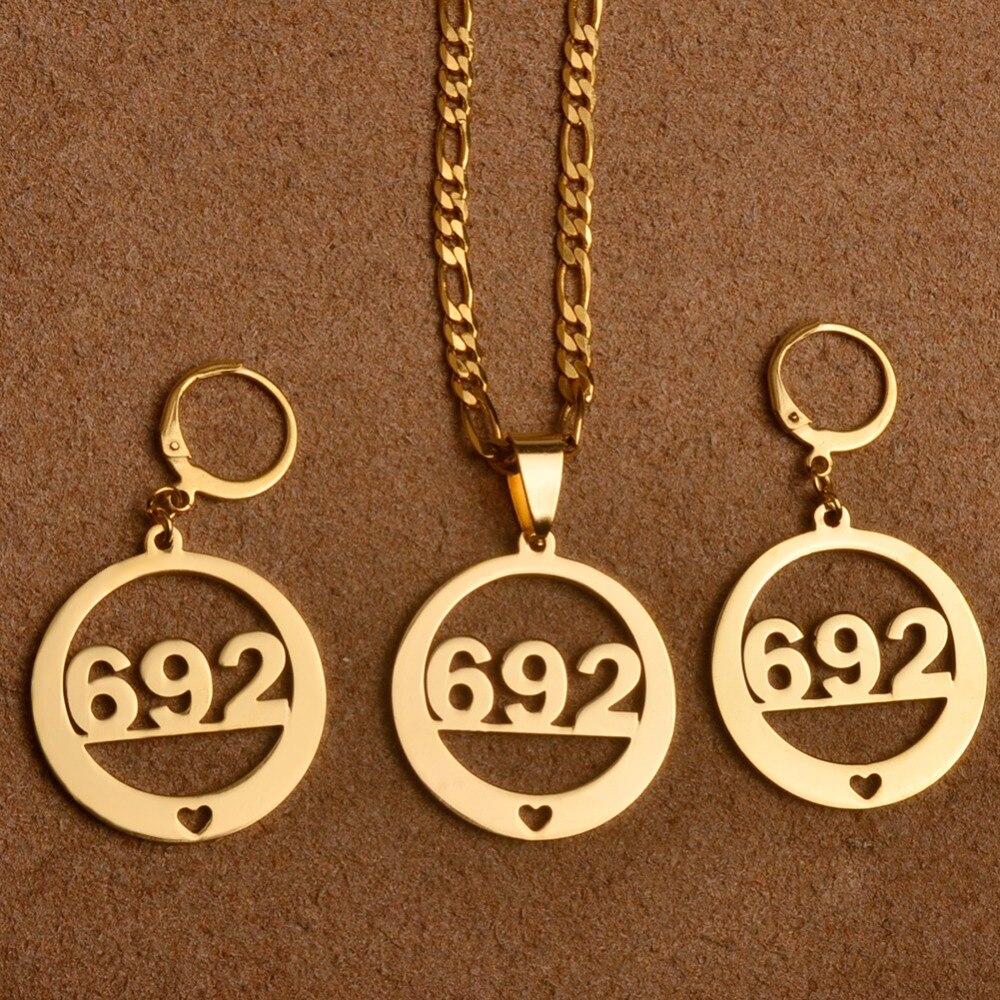 Anniyo номер 692 Ювелирные наборы с сердце Подвески и Серьги для Для женщин (больше моделей пожалуйста, проверьте мой магазин) #031821