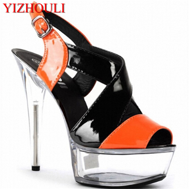 women fashion party color block shoes 15cm summer Platform shoes 6 inch bottom high heels yellow/green/blue hand made color block 6 inch high heel shoes 15cm lady party heels strappy exotic shoes multi colored sexy clubbing high heels