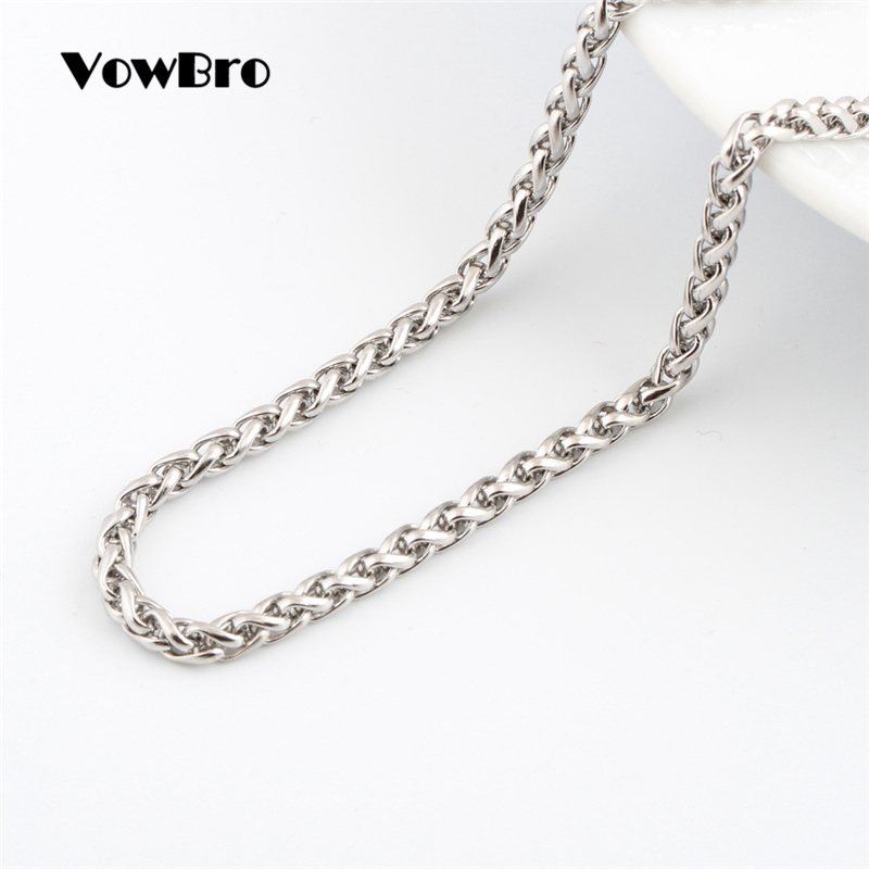 3mm Width,65cm 26inch BAVAHA 316L Stainless Steel Trendy Chain Width 3mm//4mm//5mm Necklace boy Man Necklace Chain Silver Colour Fashion Jewelry