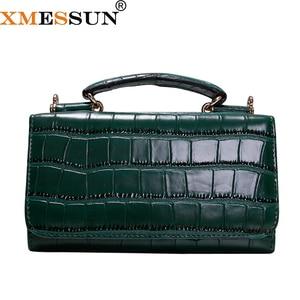 Image 1 - Women Cowhide Leather Clutch Bags Green Crocodile Pattern Handbags Women Shoulder Crossbody Bag Bolsas Wristlet Party Wallets