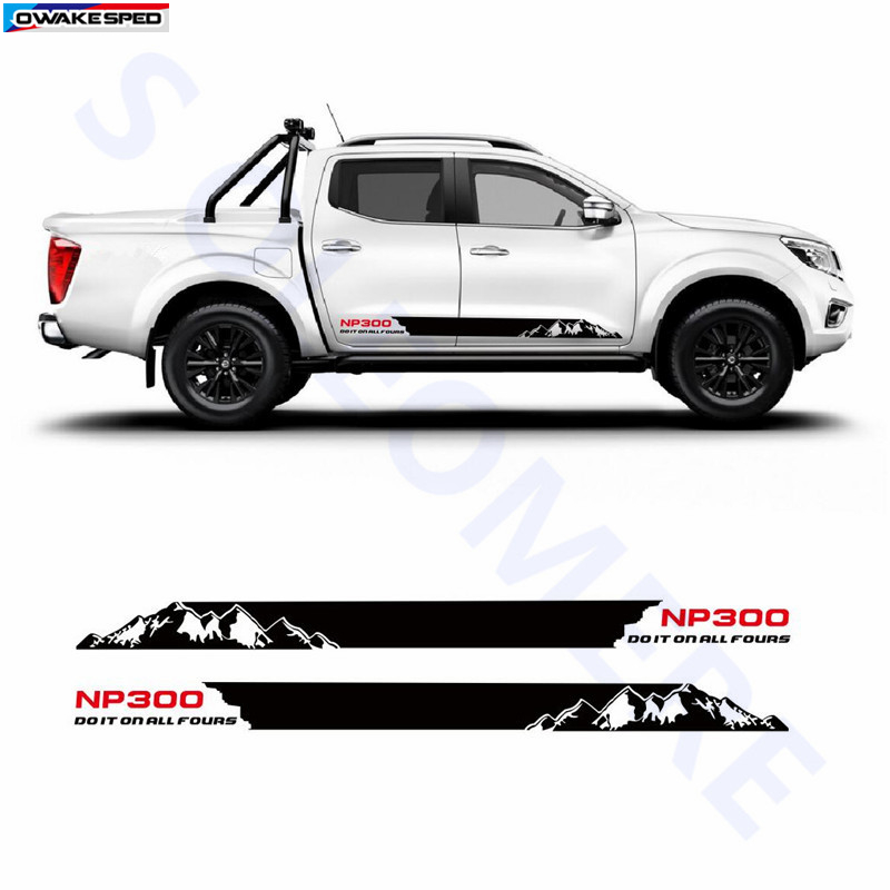 Auto Body Door Side Skirt Stripes Adventure Mountain Graphic Vinyl Sticker Car Styling For Nissan NAVARA NP300 2015 2016