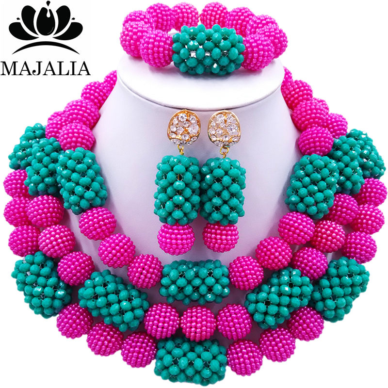 Majalia Classic Fashion Nigerian Wedding African Jewelery Set Hot pink and Teal green Crystal Necklace Bride Jewelry Sets 3SZ042Majalia Classic Fashion Nigerian Wedding African Jewelery Set Hot pink and Teal green Crystal Necklace Bride Jewelry Sets 3SZ042