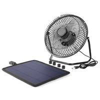 8 Inch Solar Panel Iron Fan Cooling Ventilation Silent Fan USB 5.2W 6V Charge Phone Powerbank Office Home Air Cooler
