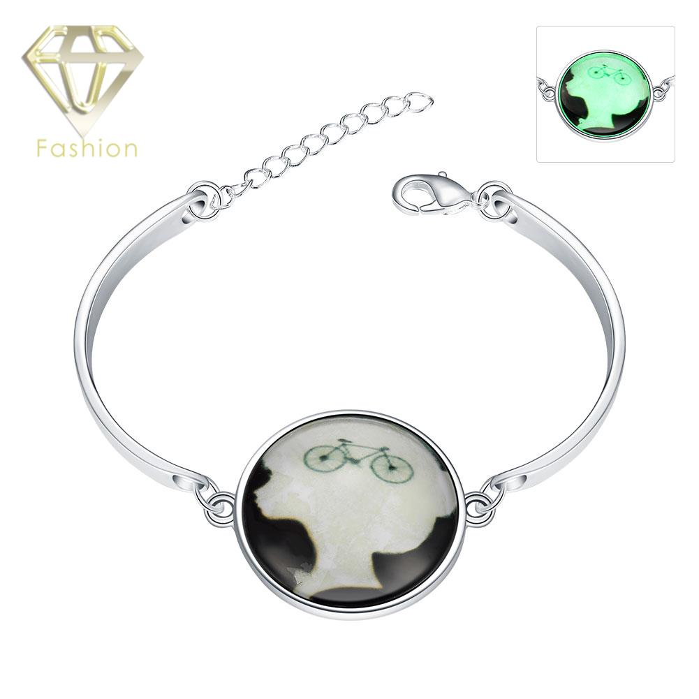 Handmade Jewellery Uk Hot Sale Luminous Style Fashion Silver Plated With  Round Pendant Marked Bicycle Bracelet