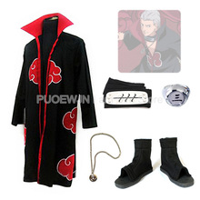 цена на 2014 New Anime Uzumaki Naruto HiDan Cosplay Costume Red cloak cosplay costume  Whole Set
