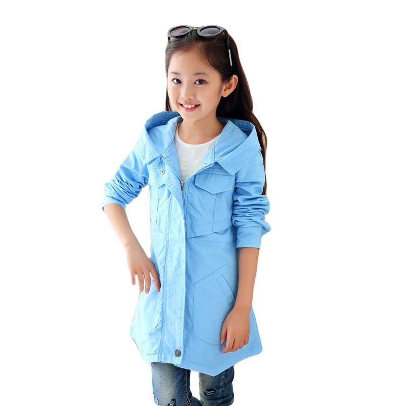 2018 Spring Autumn Kids Girls Hooded Jacket Teen Girls Zipper Trench Coat Outwear Children Windbreaker Jackets Kids Outfit R45 2018 girls spring autumn trench jackets coats new children s zipper hooded long jacket coat kids windbreaker outerwear clothing