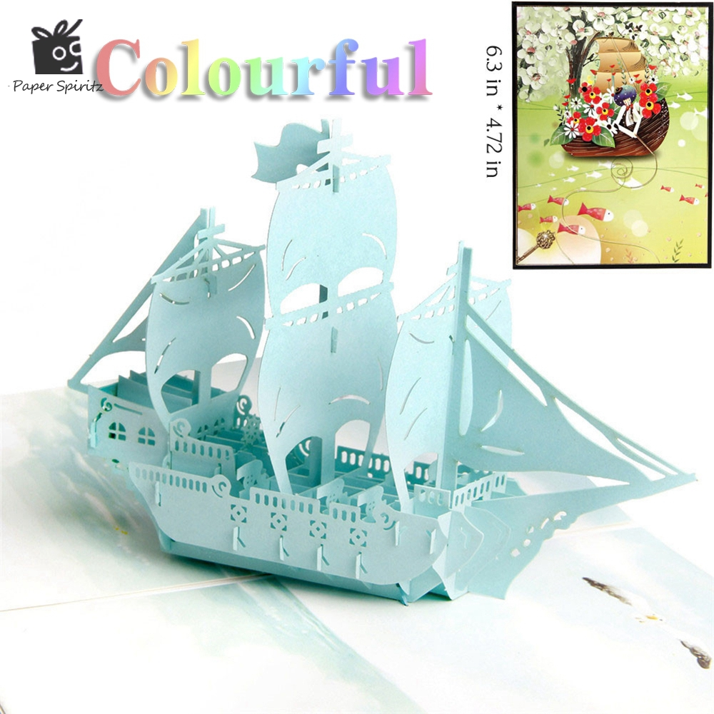 3D Laser Cut Pop Up Greeting Cards Baby Happy Birthday Postcards Vintage Chic Retro Thank You Gift Message Cards Boat 30pcs in one postcard owe you a song romantic love christmas postcards greeting birthday message cards 10 2x14 2cm