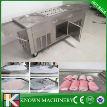 Best seller Staniless steel 110v /220v 2 pans with 10 cooling food tanks thaniland rolling fried fry ice cream machine