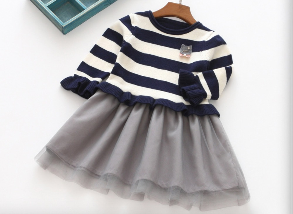Kids Animal Cat Clothes Wholesale Boutique Baby Full Sleeve Princess Clothing Children Girls Character Striped Dress 5pcs/LOT summer princess o neck embroidery bow clothes children girls crown print dresses wholesale sleeveless boutique clothing 5pcs lot