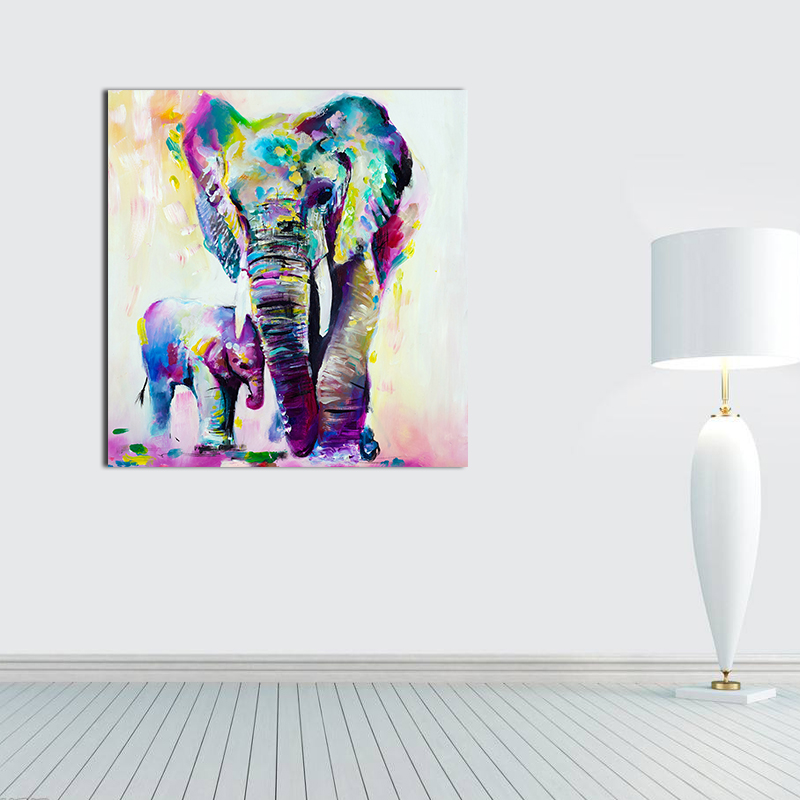 Unframed Wall Art Canvas Painting Colorful Mother and Child Elephant Picture Oil Painting on Canvas Abstract for Home Room Decor in Painting Calligraphy from Home Garden