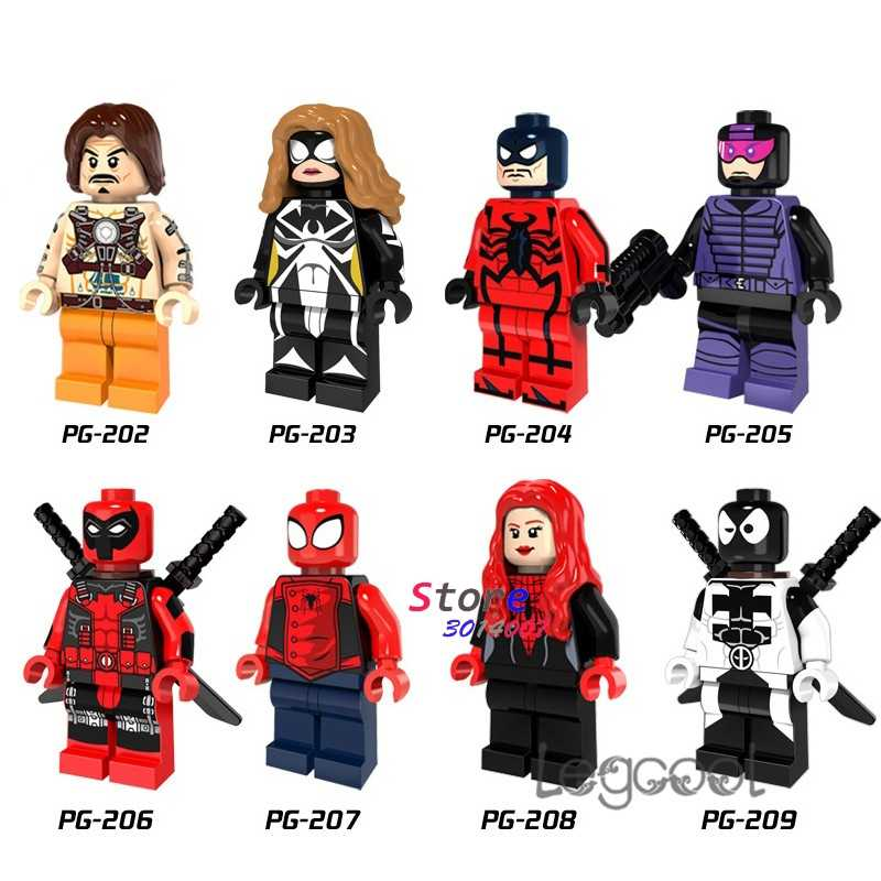 1PCS modelo blocos de construção super-heróis Deadpool Whiplash Paladin Lobo Menina Spiderman Venom Aranha Preta diy brinquedos para presente de crianças