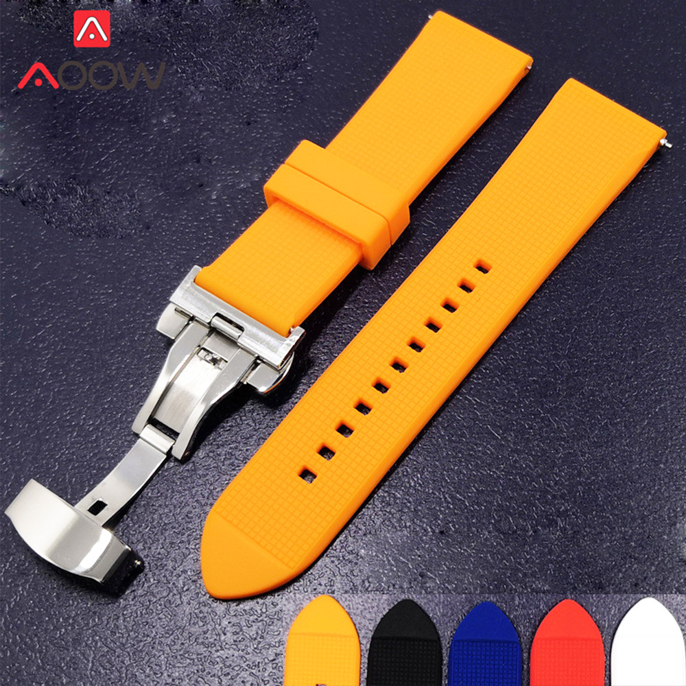 Silicone Watchband 18mm 20mm 22mm for Samsung Galaxy Watch 42mm 46mm Rubber Quick Release Butterfly Buckle Bracelet Band StrapSilicone Watchband 18mm 20mm 22mm for Samsung Galaxy Watch 42mm 46mm Rubber Quick Release Butterfly Buckle Bracelet Band Strap