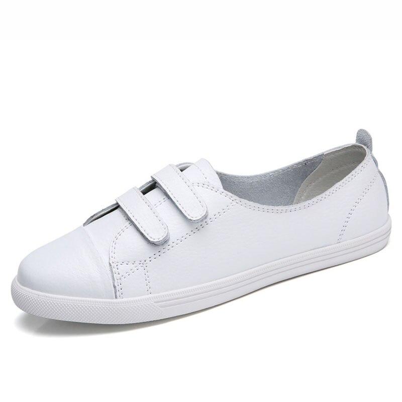 blanc Style Mocassins De Femme 2018 Doux Blanc Chaussures Femmes Casual Noir Cuir Talon En Dames Appartements D'été Véritable Plat Creepers Lorfrcin Rq6wvRd