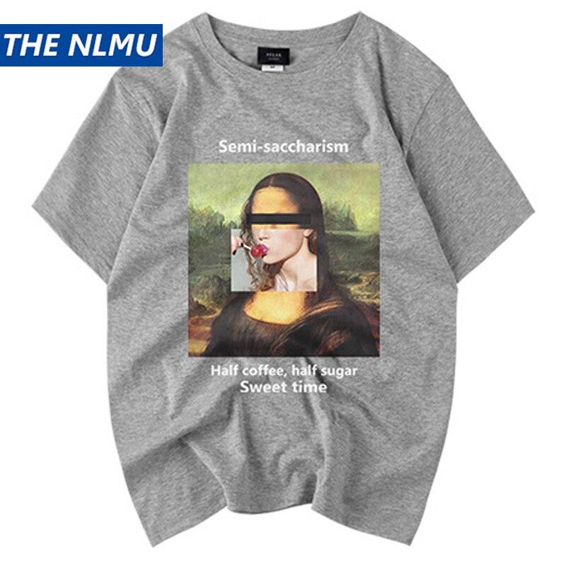 Mona Lisa Impressão Engraçado Camisetas Homens Streetwear camiseta Manga Curta O Pescoço Primavera Verão 2019 Hip Hop Casal Tops Tees Masculino HS49