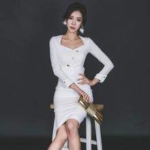2017 Spring Office  Sexy Bandage Bodycon Women Long Sleeve White Black Midi Pencil Dress Vintage Party V-Neck Dresses Vestidos