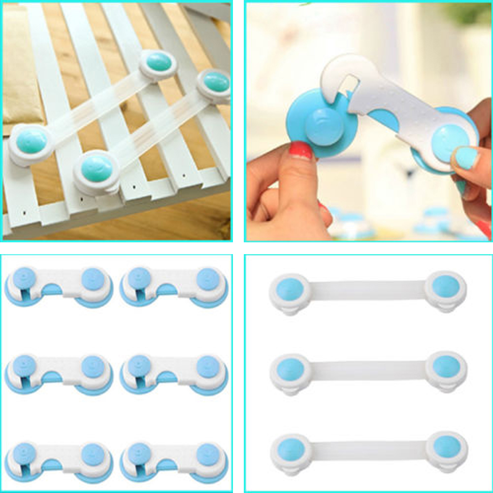 10pcs Toddler Baby Drawer Cabinet Cupboard Wardrobe Door Fridge Baby Safety Locks Plastic Kids Baby Children Finger Protection