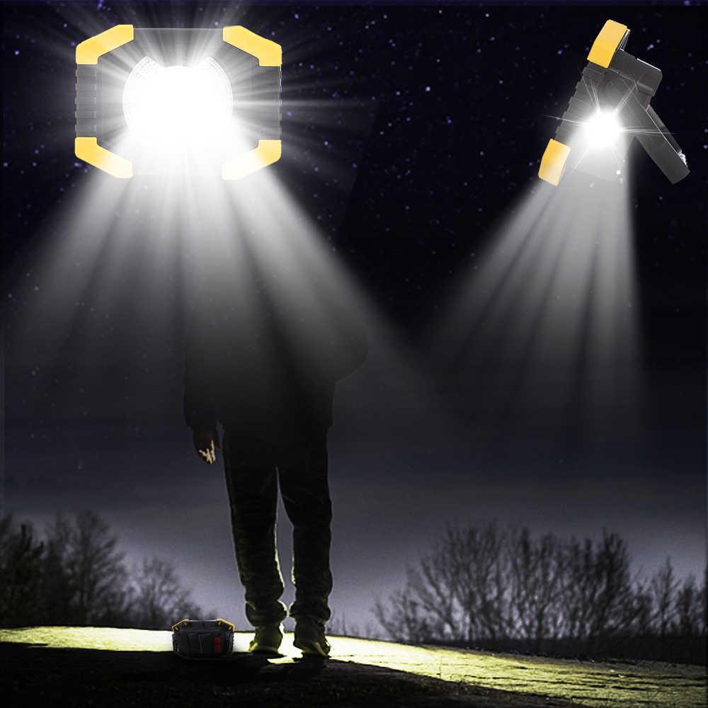 Terang Portable Lampu Kerja Lampu USB Rechargeable Tenaga Surya Lampu Built-In 2400 M AH Baterai untuk Berburu Berkemah