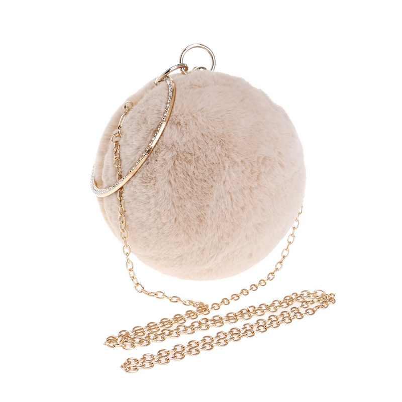 SEKUSA, зимний женский клатч с кроличьим мехом, вечерняя сумка, круглая, металлическая, золотая, бриллиантовая, на плечо, маленькие женские сумки, для девушек, вечерние, сумка