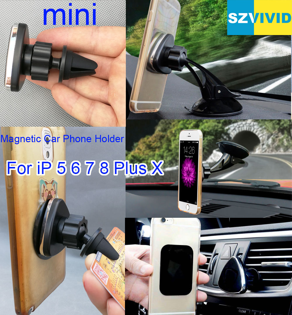 Magnetic Car Phone Holder Air Vent Outlet Mount For iPhone X 8 Plus 7 6S 6 5S 5 Magnet Dashboard Windshield Bracket