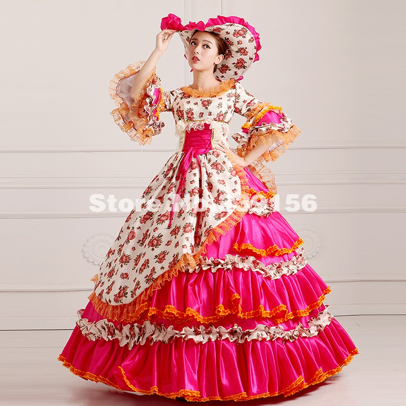 5350829c0367 Elegant Red Floral Multi layer Civil War Southern Belle Dress Renaissance Rococo  Marie Antoinette Ball Gown Free Shipping-in Dresses from Women's Clothing  ...
