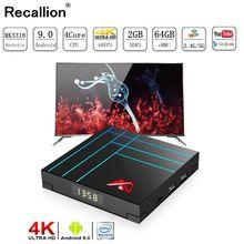 цена на RECALLION RK3318 Quad-Core Android 9.0 Smart TV BOX 4G DDR3 64G EMMC ROM Set Top Box 4K 3D H.265 Wifi media player TV Receiver