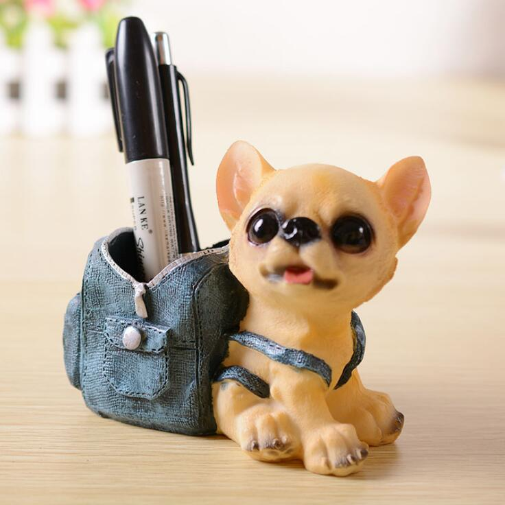 Mini Dog Cowboy Pencil Holder Stand For Pens Container Desk Accessories Stationery Chancery Papelaria Office Tools DD1751