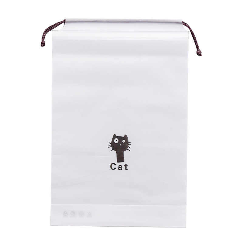 Black Cat Drawstring Storage Bag Luggage Organizer Shoe Bag Travel Portable Clothes Organizer Save Space Dust-proof Pouch