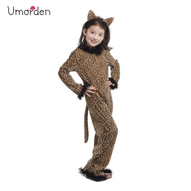Umorden Kids Child Animal Wild Leopard Costume for Girls Fantasy Jumpsuit Disfraz Halloween Carnival Party Costumes