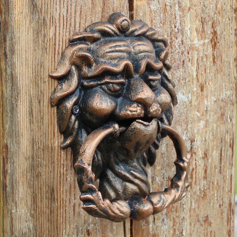 Door Knocker Lion Vintage Cast Iron Doorknocker Black Lionhead Door Latch Home Office Store Gate Decor Wrought Iron Craft Retro